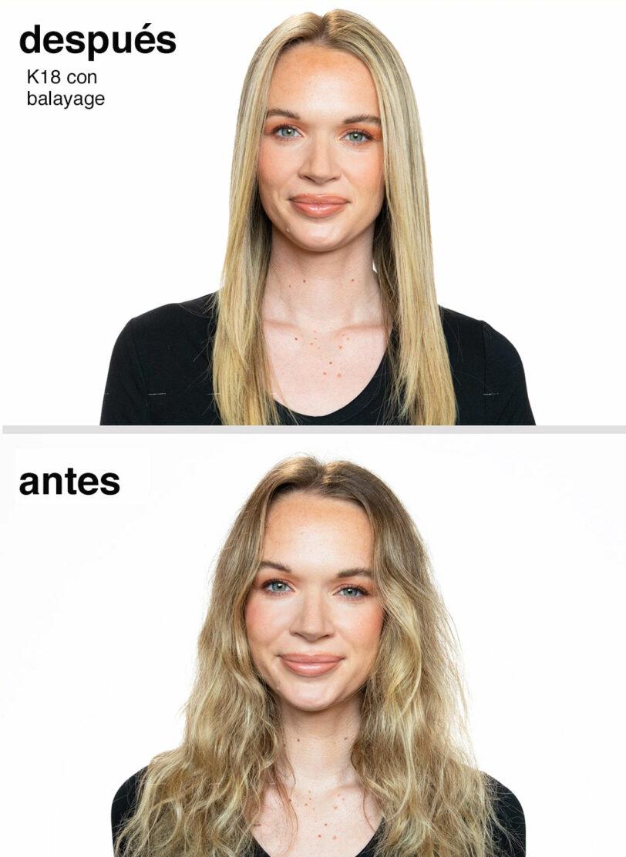 K18 Resultados antes y después en mechas balayage beths hair