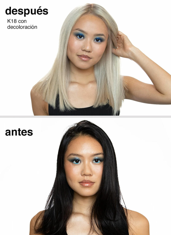 K18 Resultados antes y después en decoloración beths hair