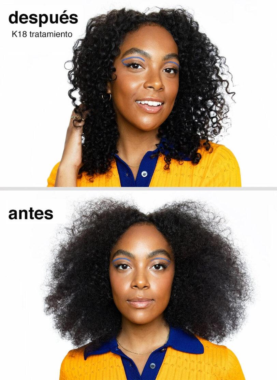 K18 Resultados antes y después en tratamiento rizos beths hair